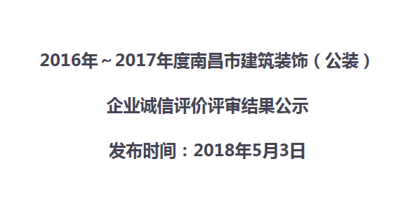 2016年~2017年度竞技宝下载官网建筑竞技宝ios(公装)  企业诚信评价评审结果公示
