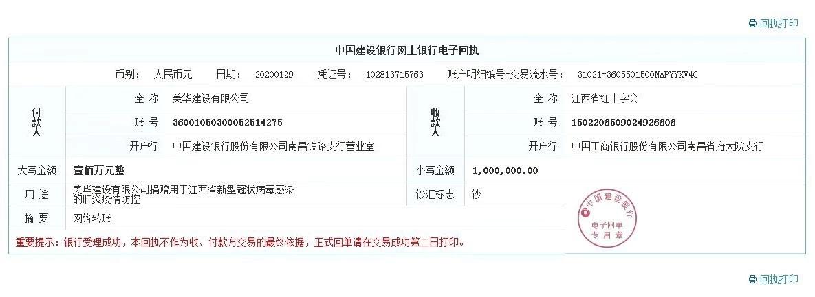 协会常务副会长单位美华建设捐款100万元用于江西省新型冠状病毒肺炎防控